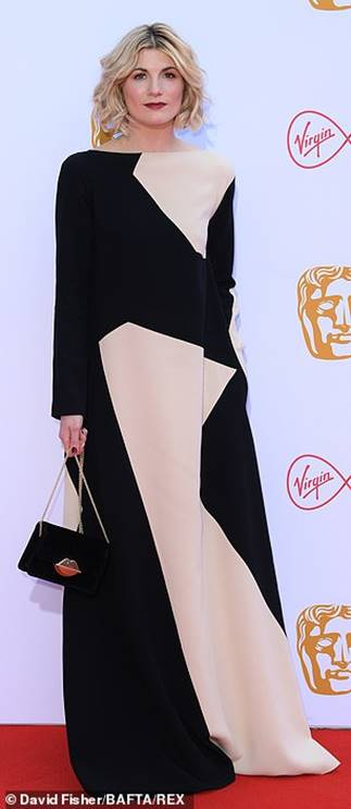 Jodie Whittaker in Jasper Conran and Luly Guinness handbag