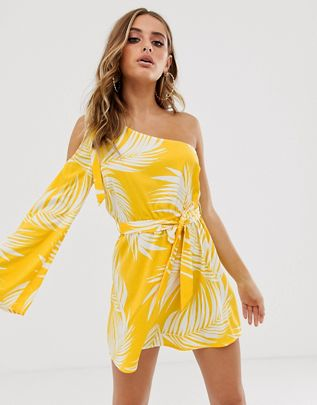 ASOS FERN PRINT YELLOW DRESS £26