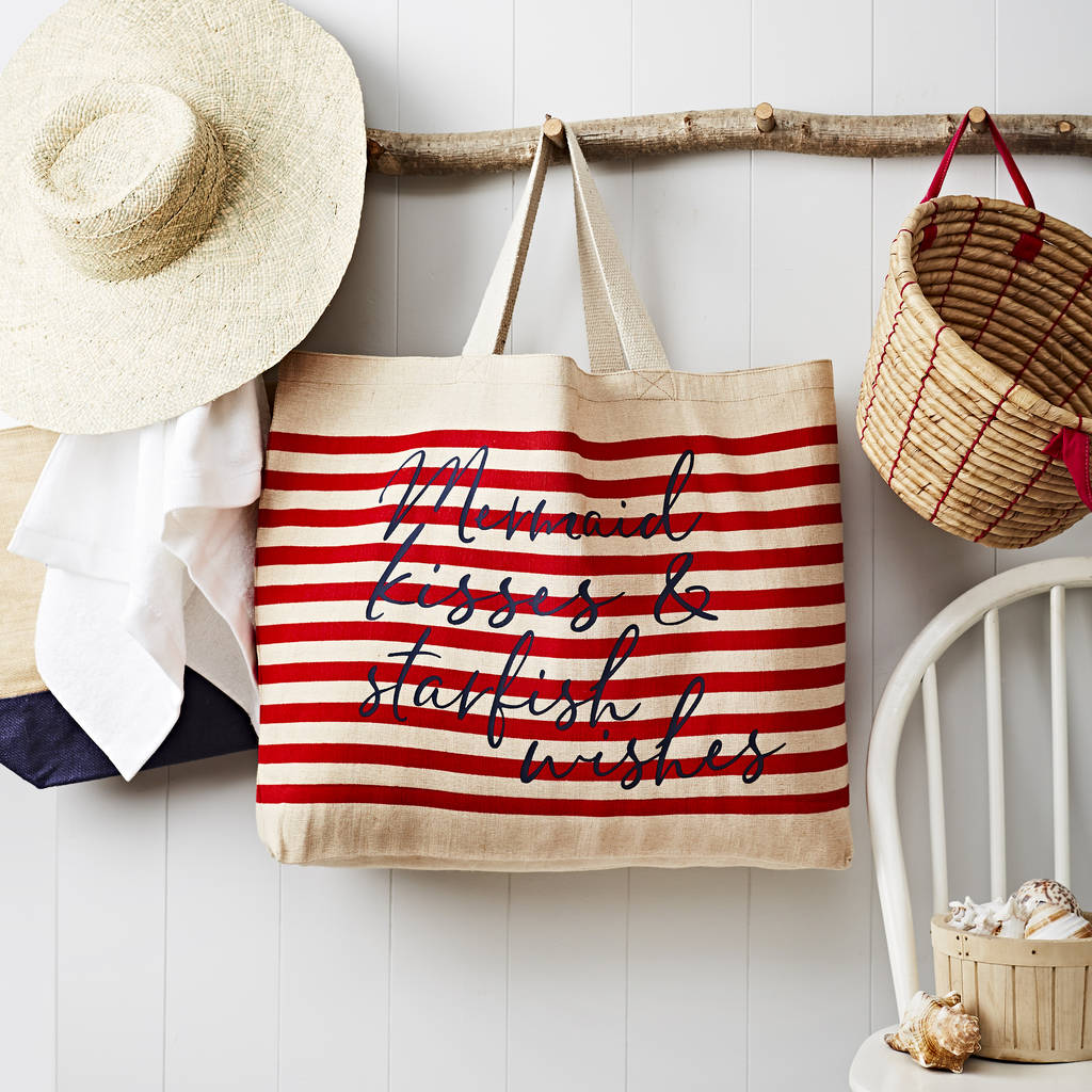 NOT ON THE HIGH STREET STRIPED TOTE BAG WITH QUOTE £20