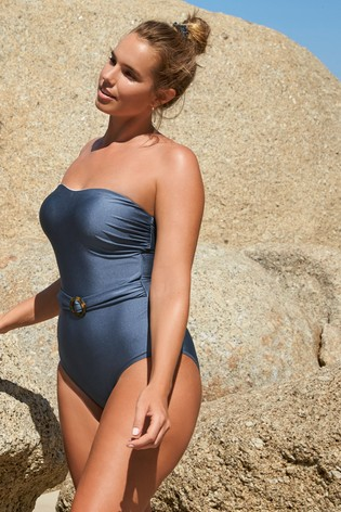 Blue belted swimsuit, Next -£38