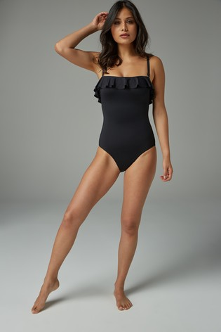 Ruffle shape enhancing bandeau swimsuit, Next -£32