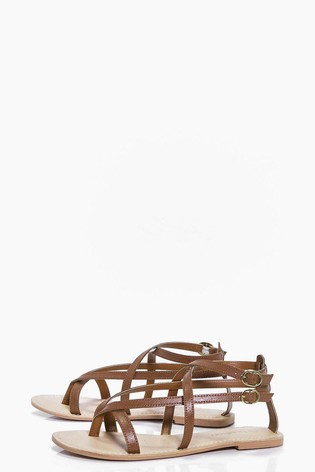 Boo hoo strappy leather sandals -£15