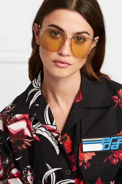 Gucci oversized square frame gold tone sunglasses -£260