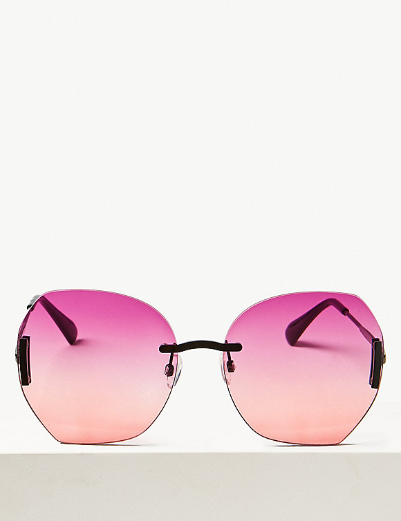 M&S Collection Oversized Rimless Sunglasses in pink mix -£17.50.