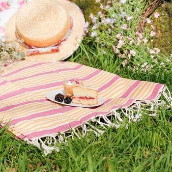 Raspberry Mango Striped Summer Picnic Blanket, Dibor £15