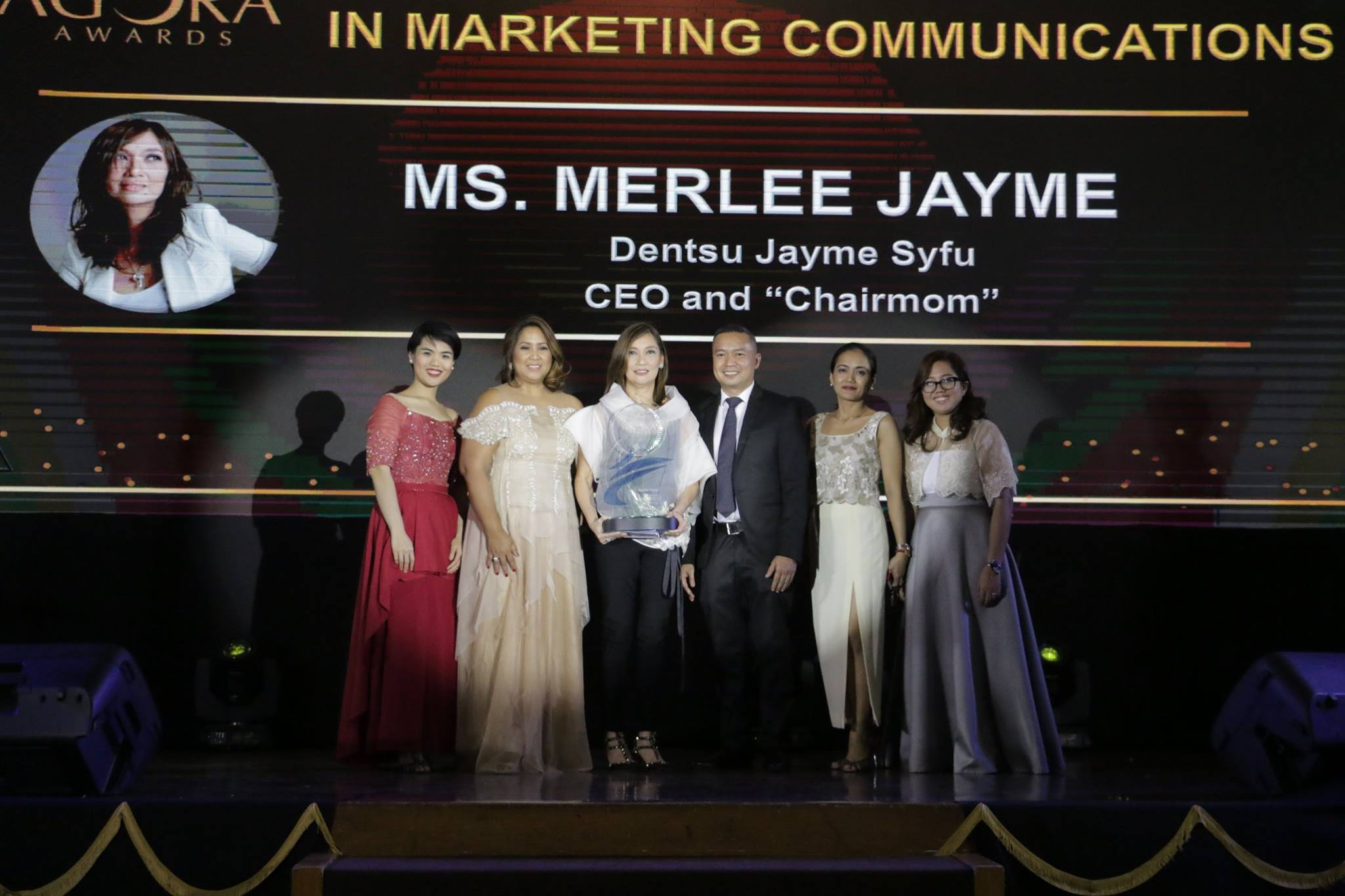 Outstanding Achievement in Marketing Communications Winner, Ms. Merlee Jayme, CEO and Chairmom of Dentsu Jayme Syfu