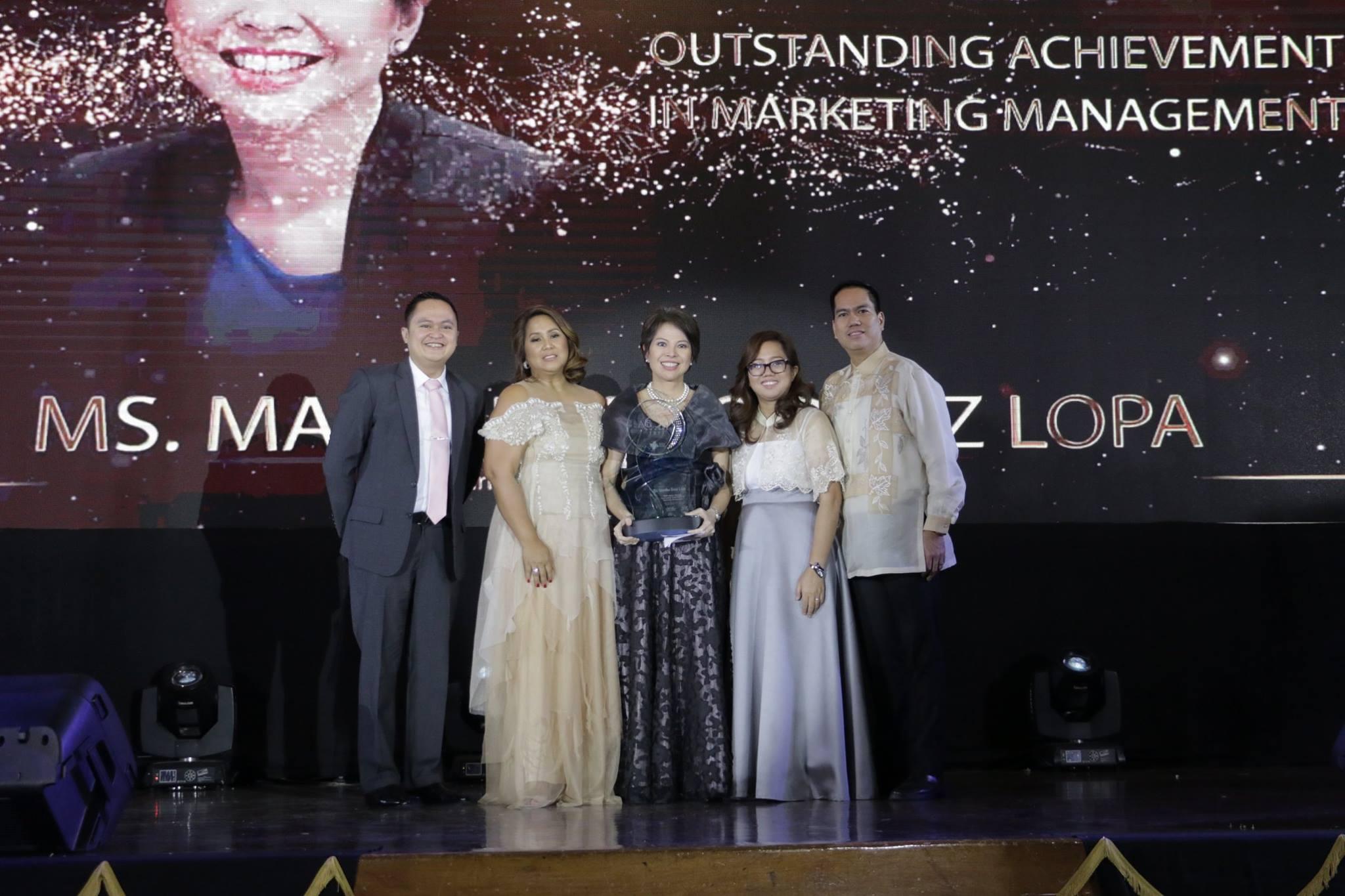 Outstanding Achievement in Marketing Management Winner, Ms Mylene Lopa, Marketing Director of Sunlife Financial Philippines