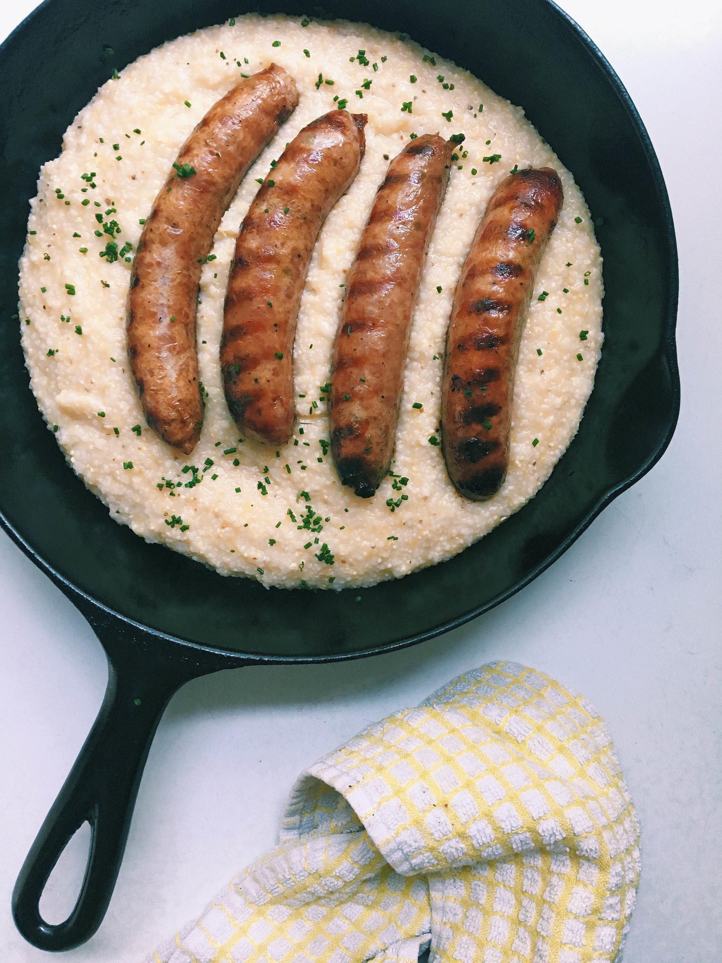 Milton's Local Bacon Sausage and Woodson's Mill Grits