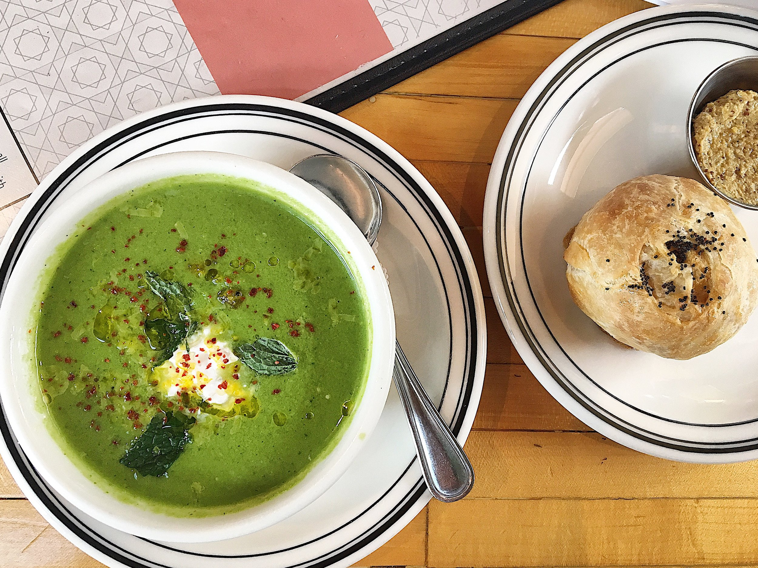 Pickle gazpacho with mint and sumac, with a potato knish at Mamaleh's Delicatessen. photo by Stephanie Ganz