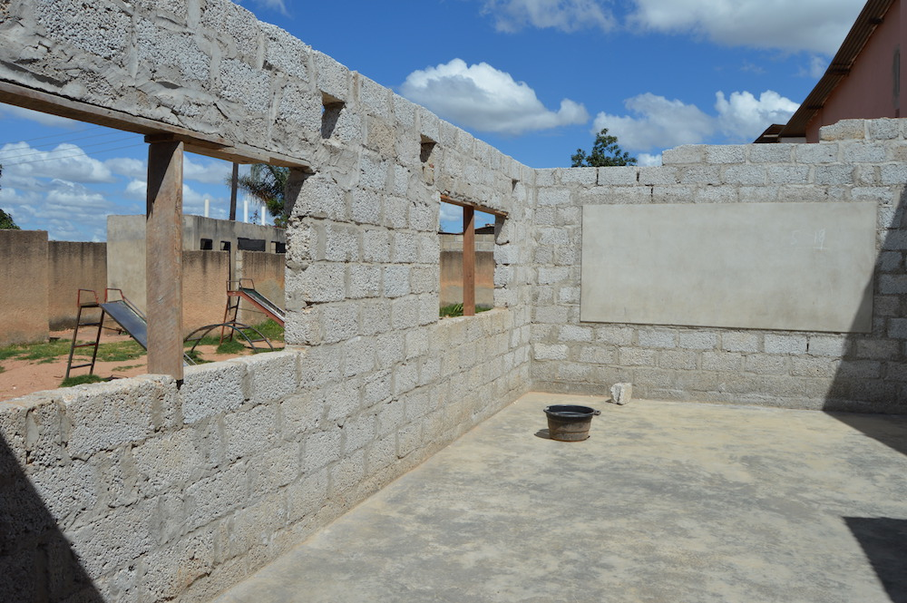 This is the classroom that Flying Angels is requesting to finish with their next grant. With a roof, this will become the new First Grade classroom.
