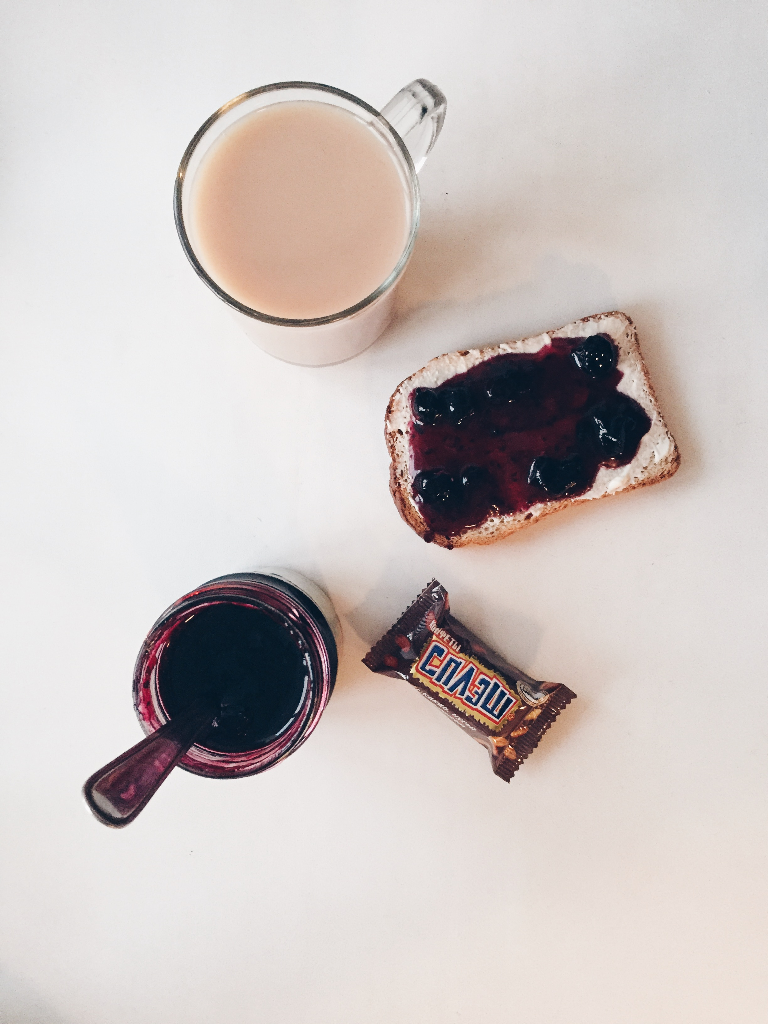 A Snickers-esque candy, homemade black currant jam, and some sweet chai.