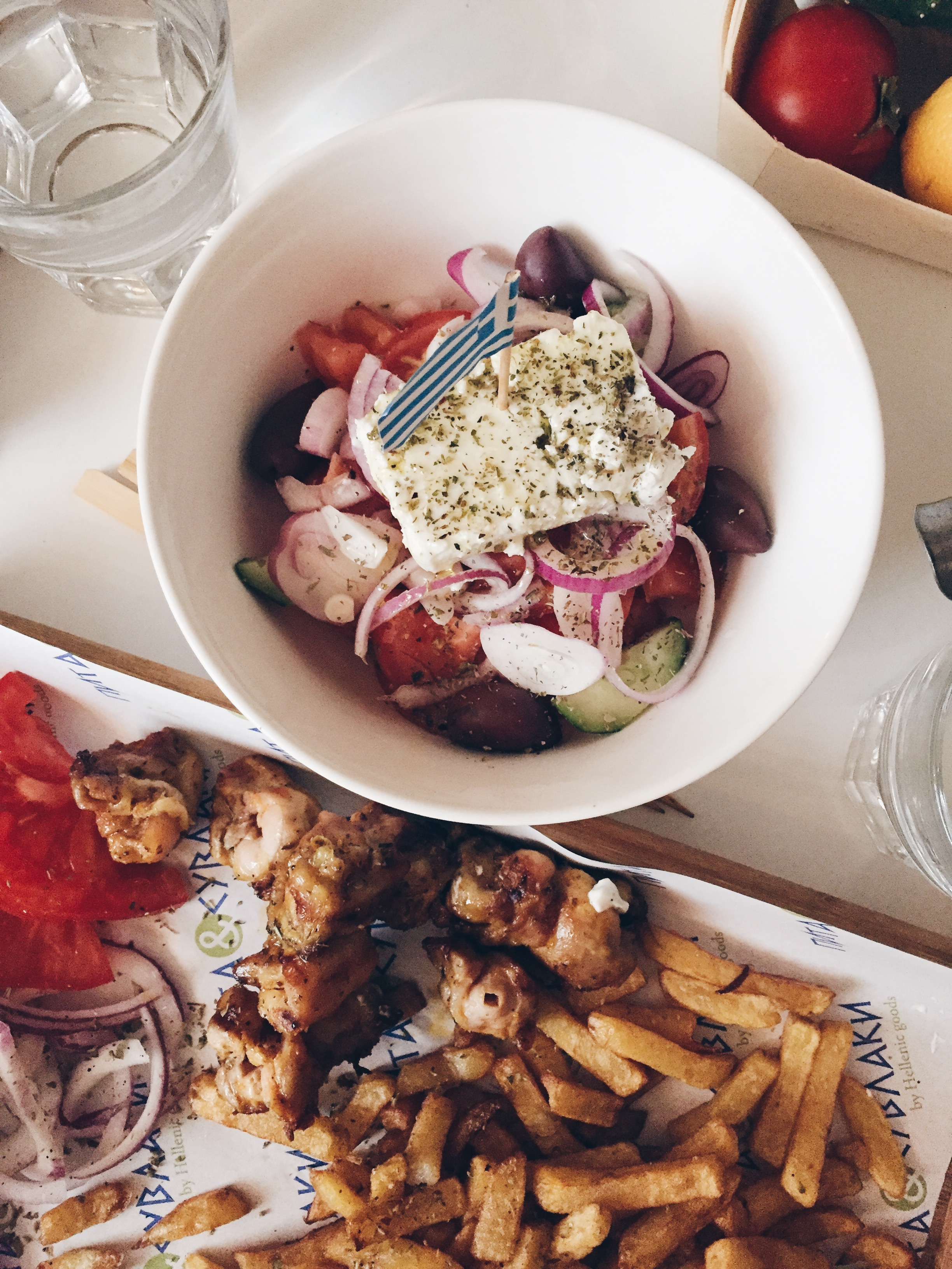 Pita & Suvlaki - Dinner with friends and a big slab of feta!
