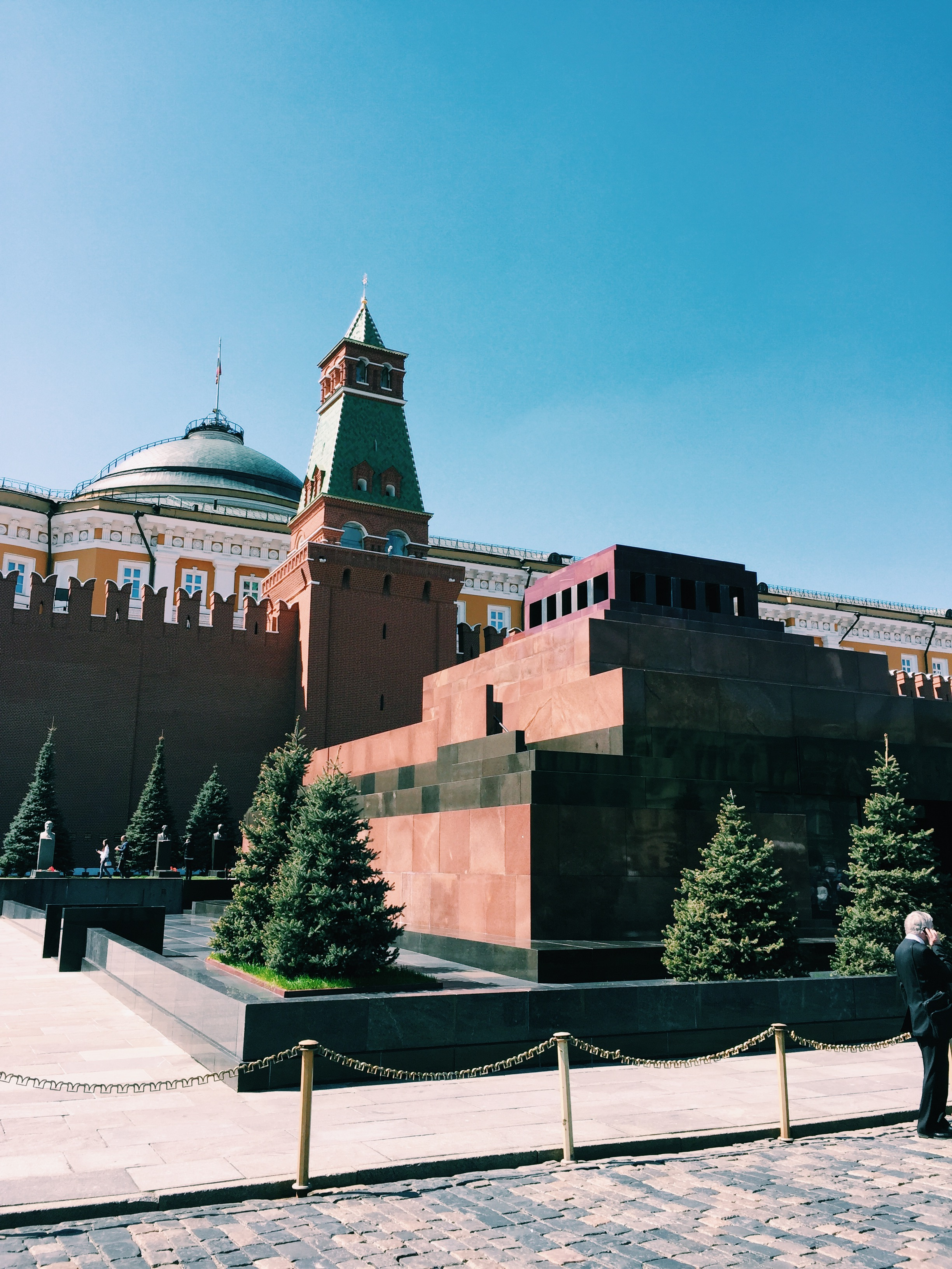 Lenin's Mausoleum - The structure to the right houses Lenin and behind it is the Kremlin wall, with famous Russian's buried in it and just outside of it.