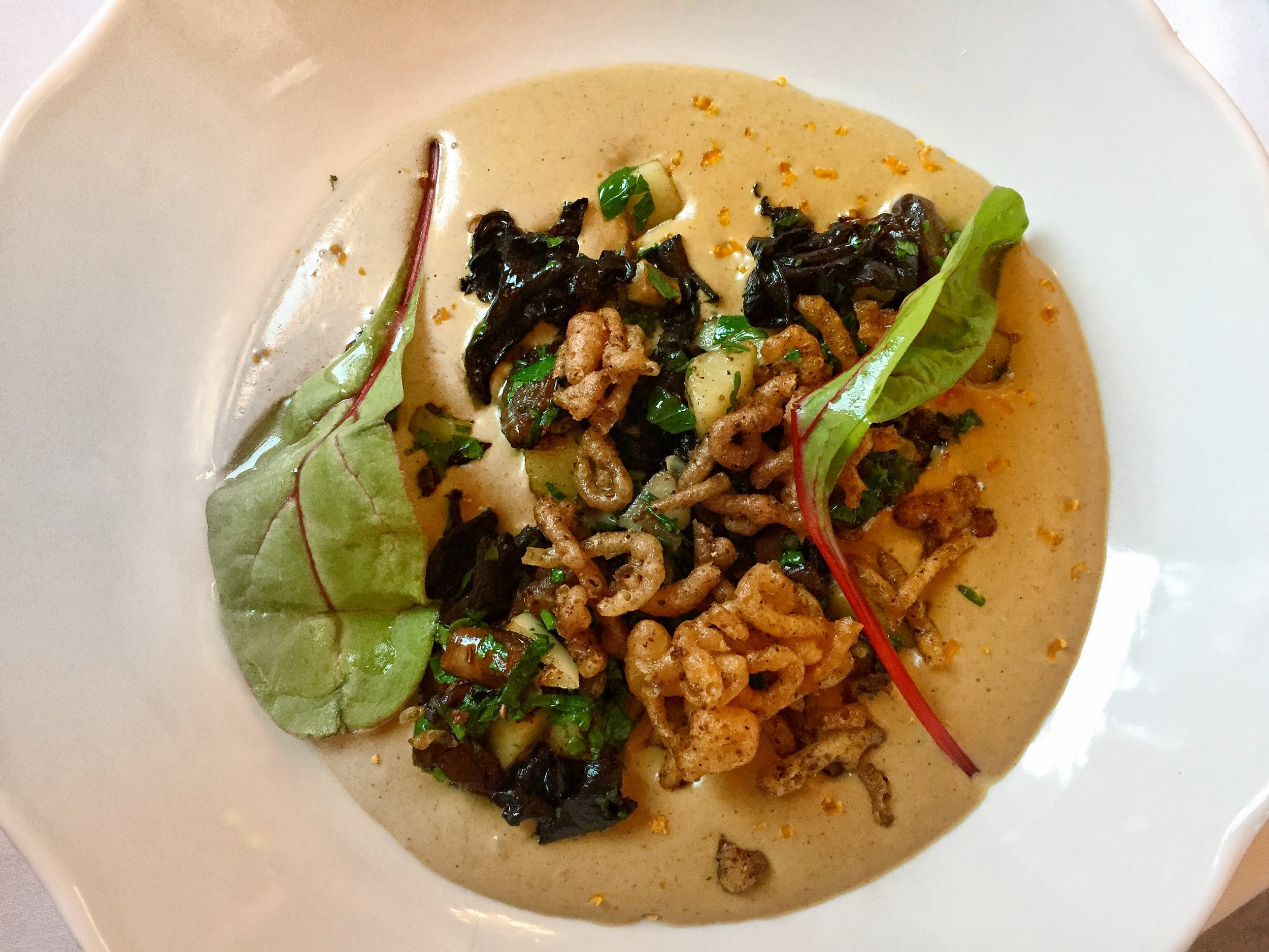 porcini mushrooms & Malaber spinach at Café Savoy