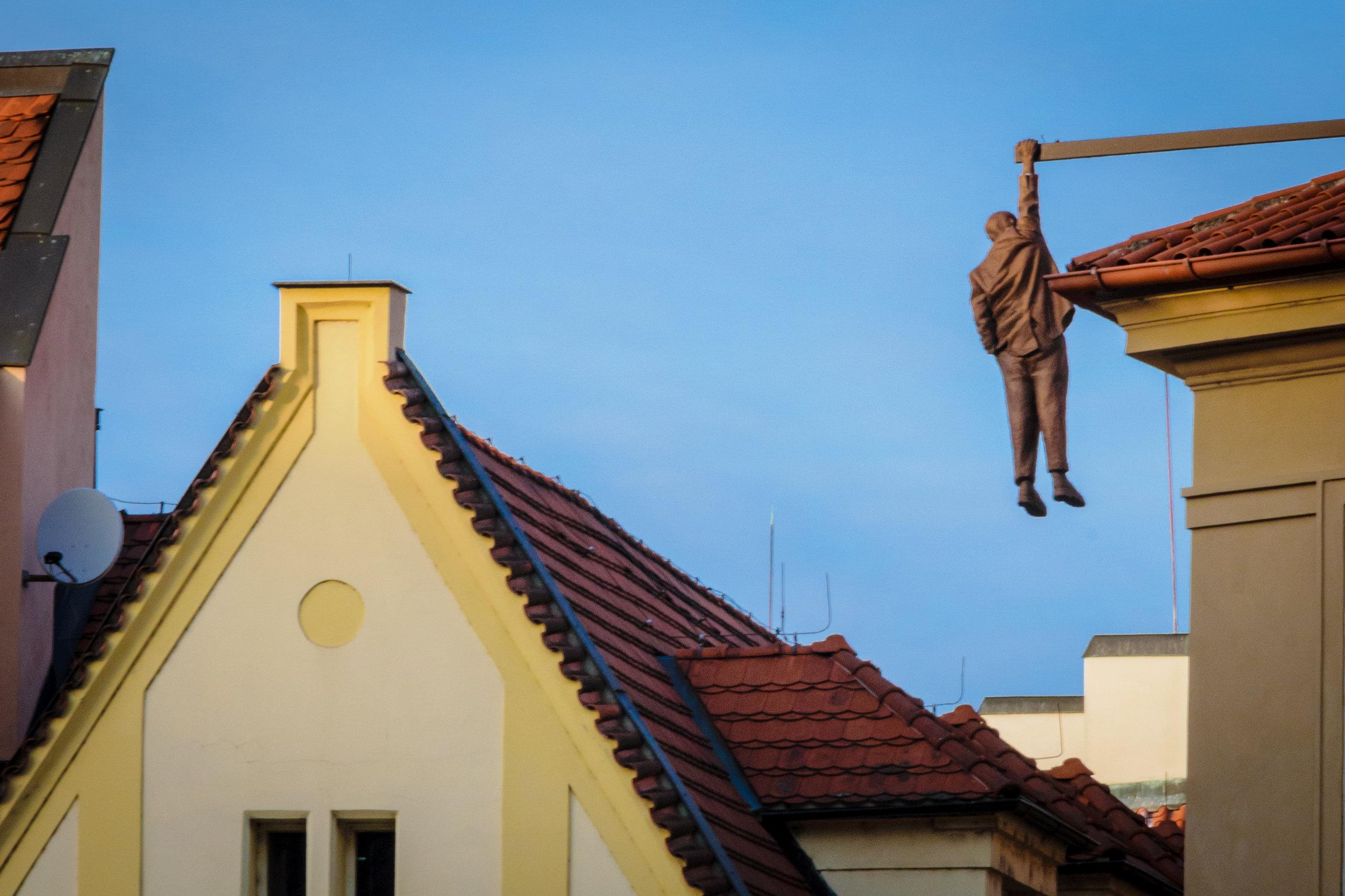 "David Černý's ""Man Hanging Out"" (Sigmund Freud)"