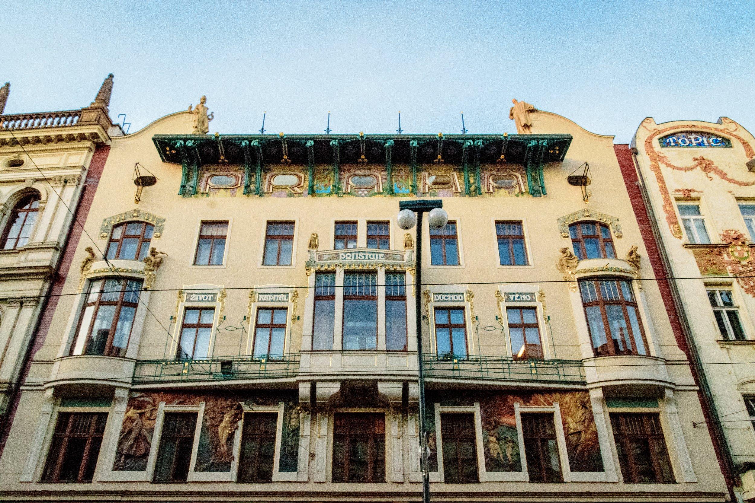 the windows spell 'PRAHA' ('Prague')