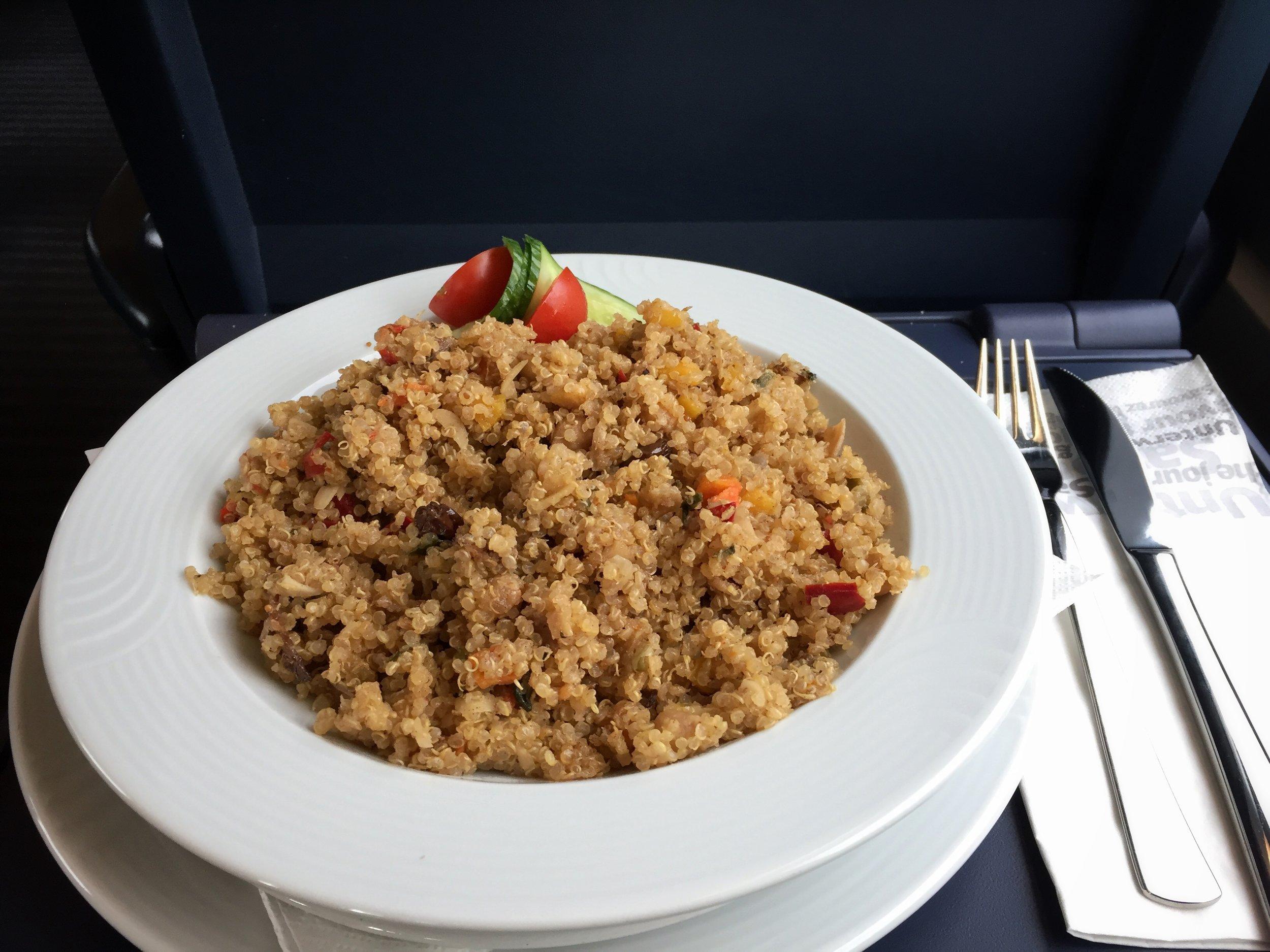 vegan quinoa on train