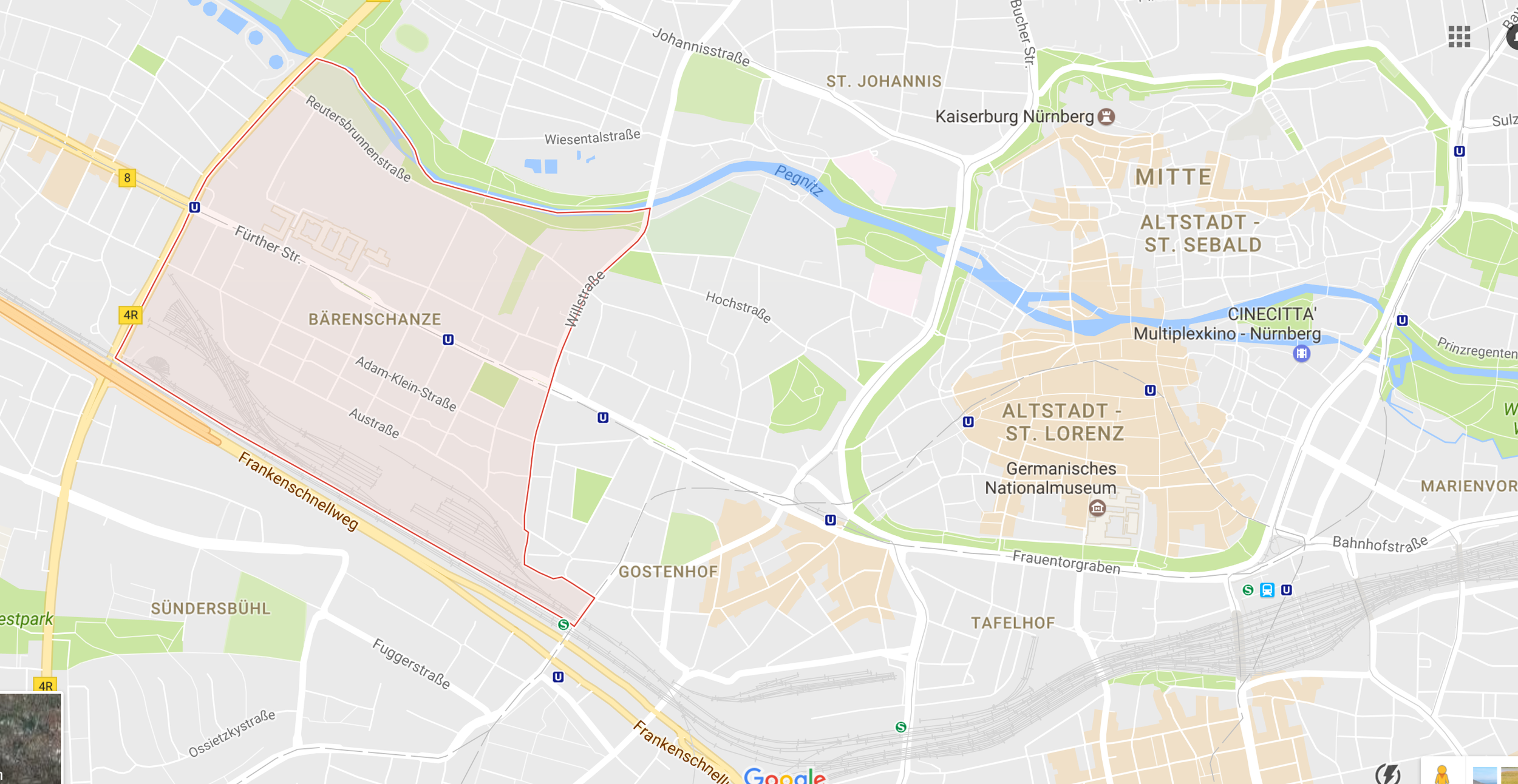 Bärenschanze is the pink area to the left, with Nuremberg's old town to the right