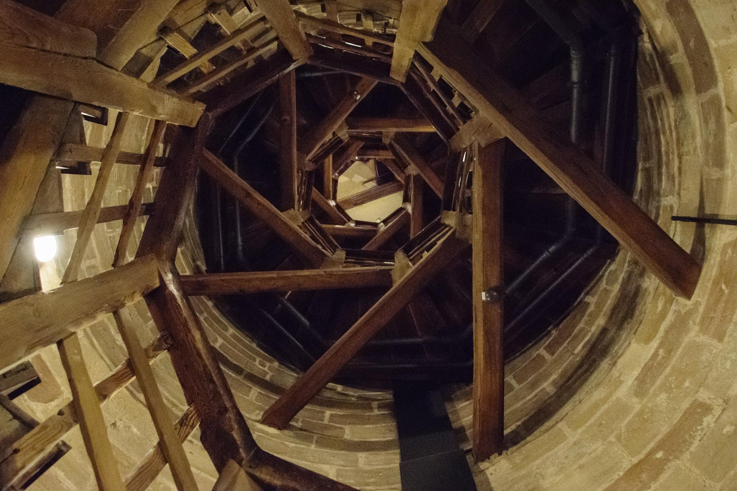 preparing to climb the tower
