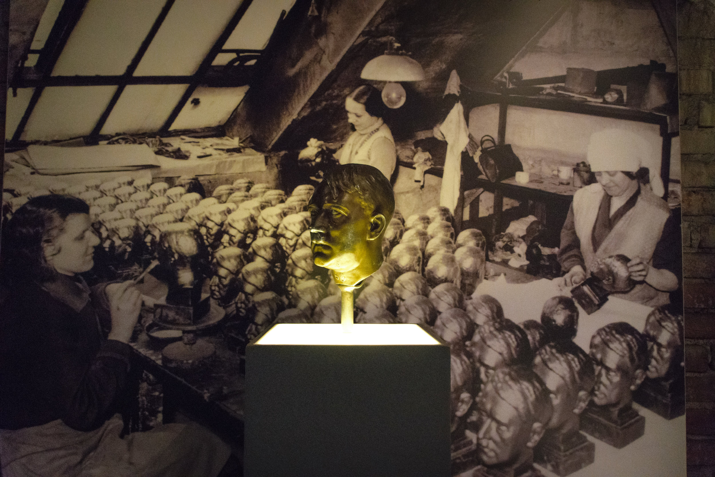 display on a factory that made Hitler heads during Nazi rule