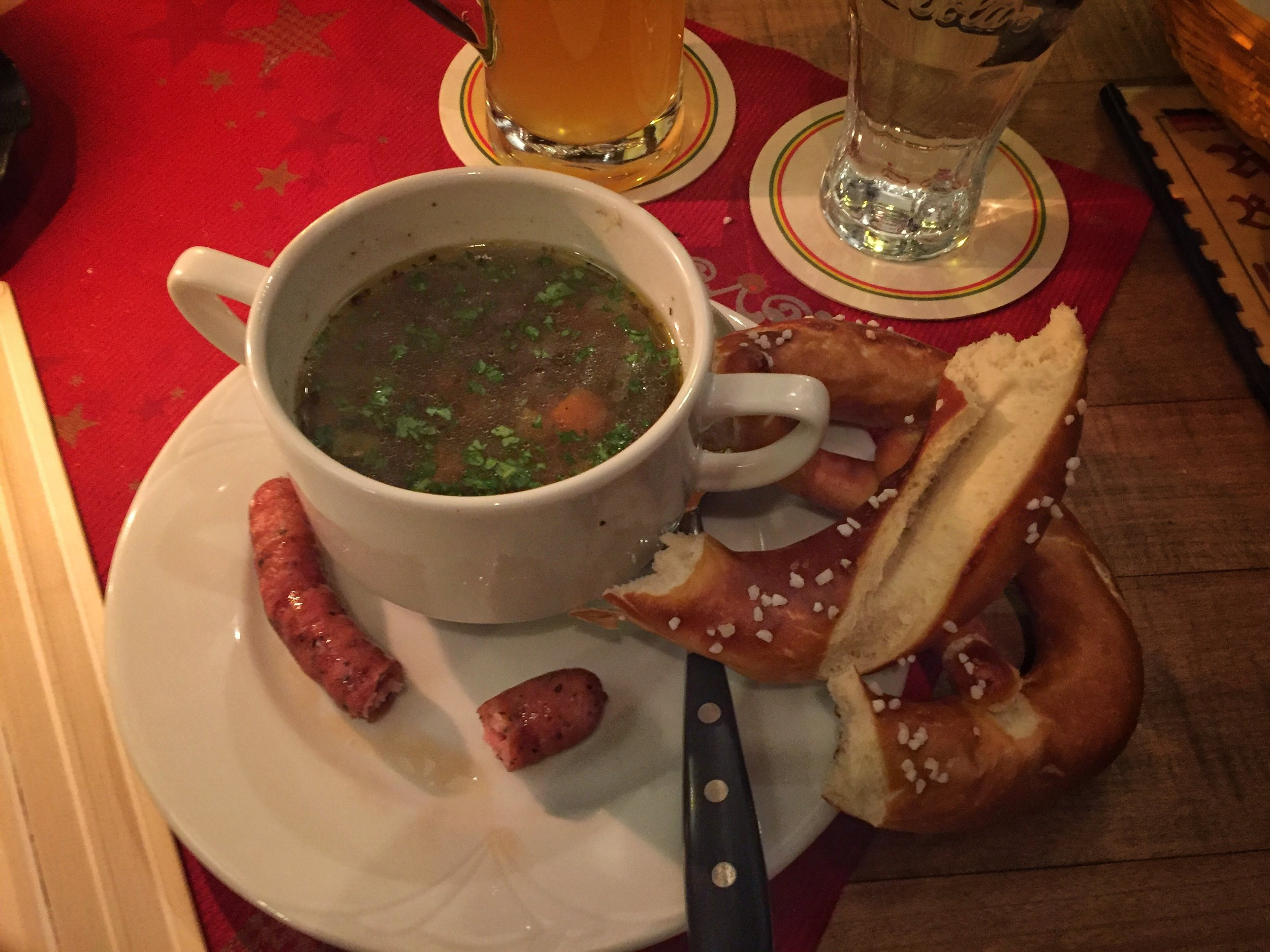 soup, pretzel, & beer at Restaurant Trödelstuben - with sausage bits for Mango (Nuremberg)