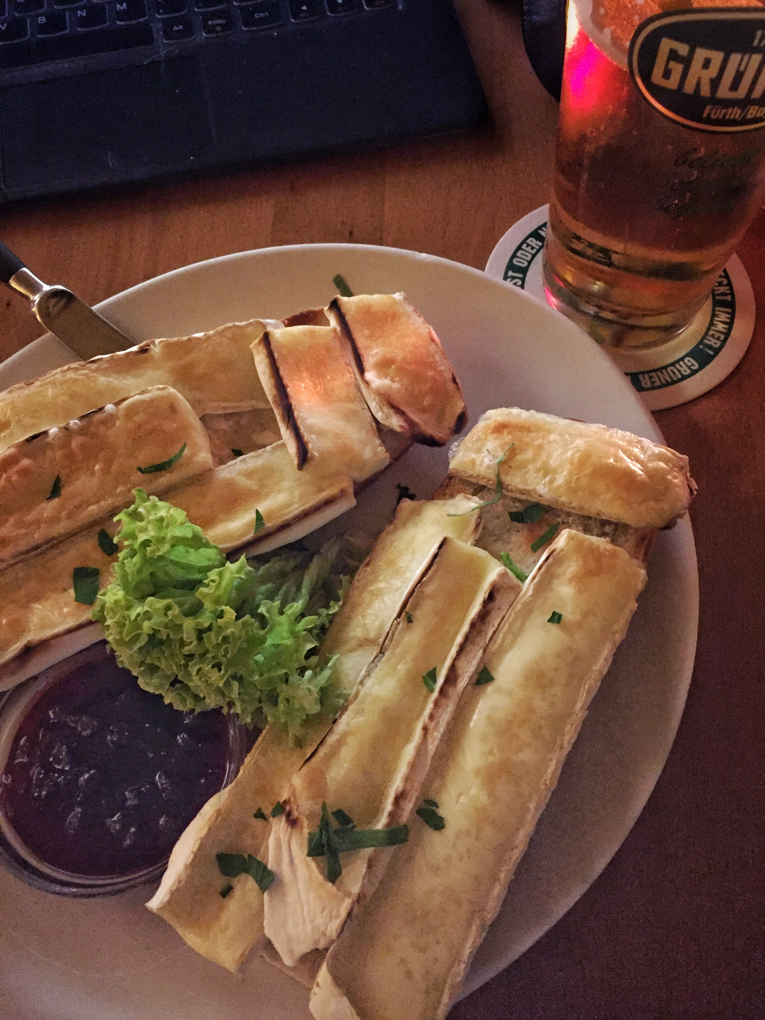 low-cal snack of brie, bread, and beer at Café Fatal (Nuremberg)