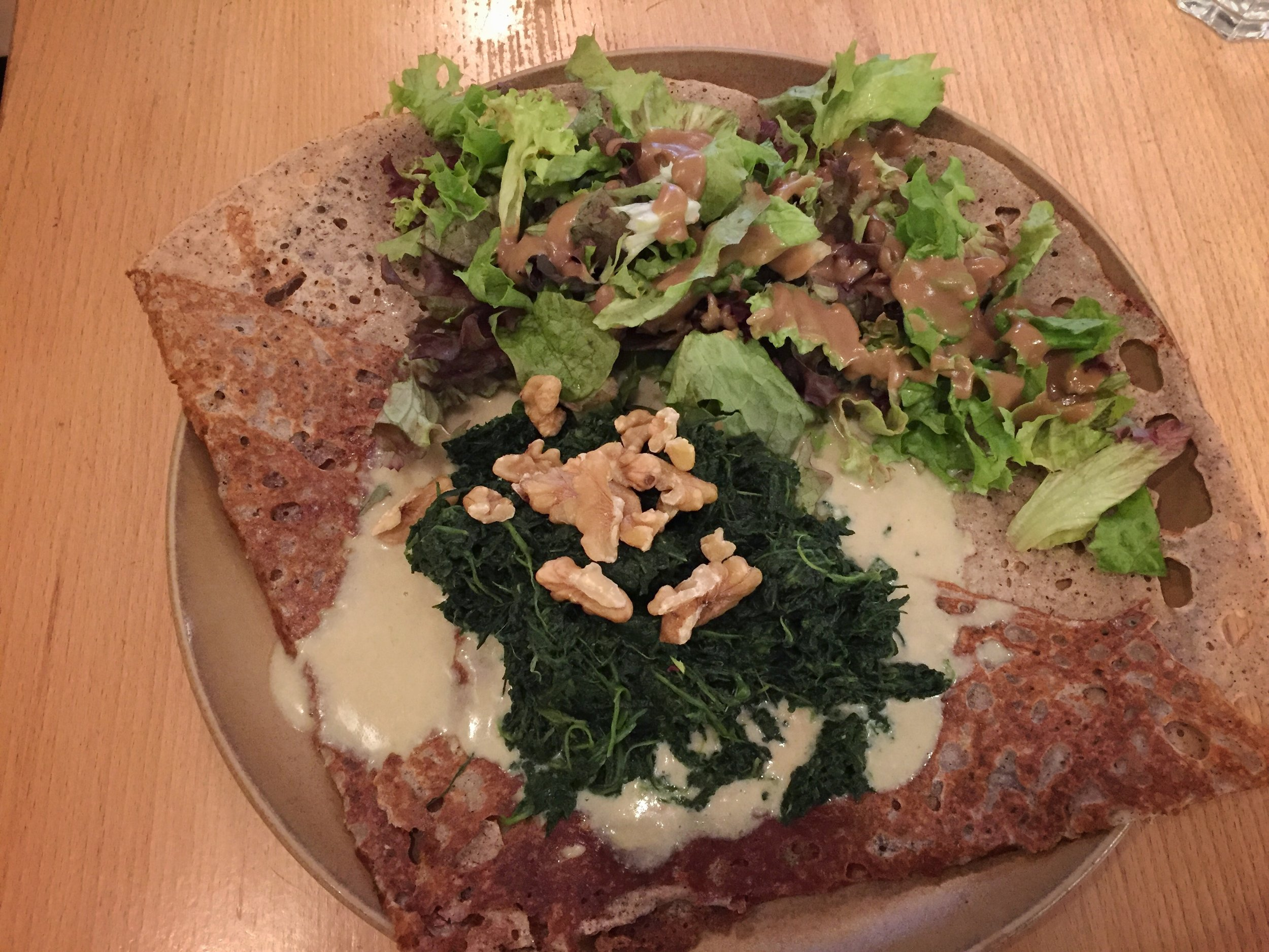 Camembert & spinach crepe at Haus der Bretagne (Hamburg)