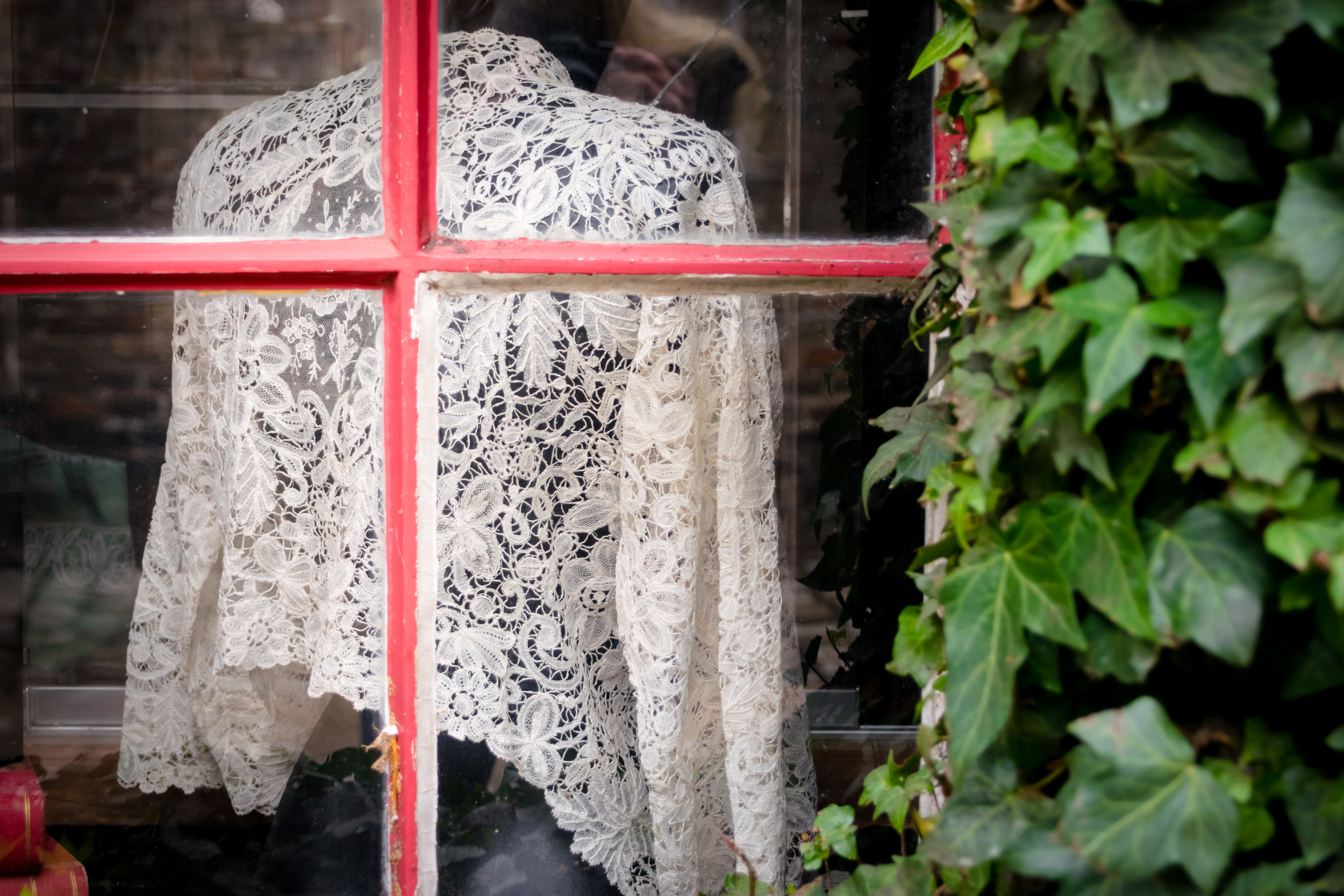 window in the lace museum gift shop