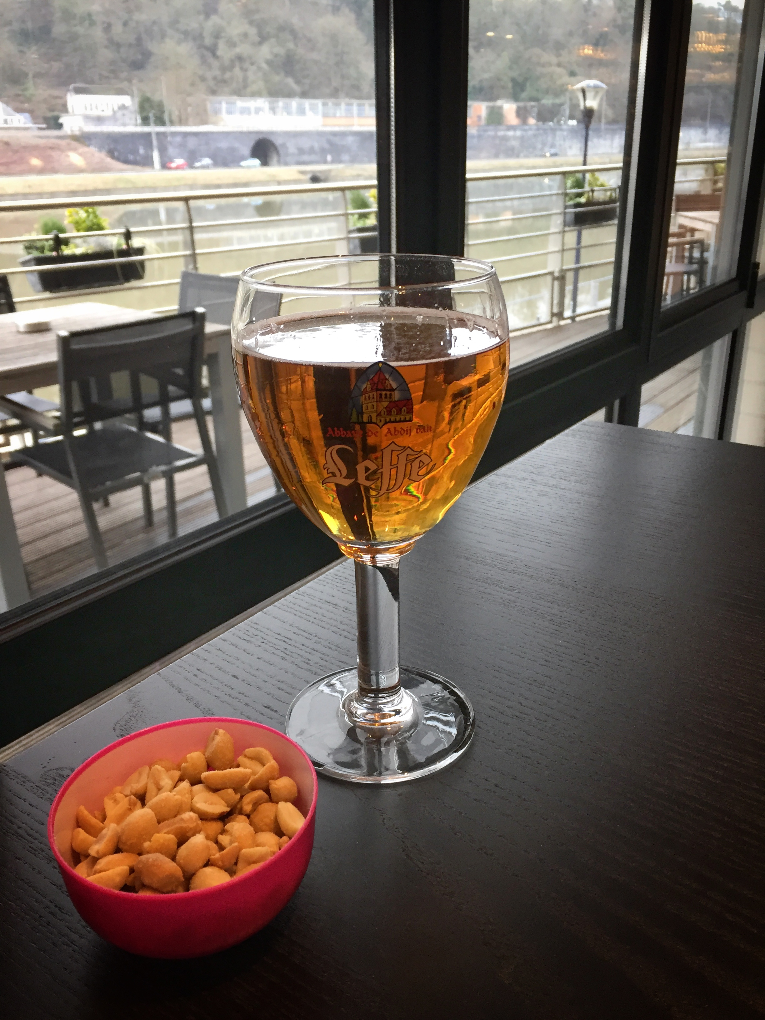 Leffe beer with a river view (Dinant, where Leffe began)