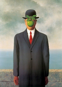 """Magritte's """"The Son of Man"""" (photo credit: Wikipedia)"""