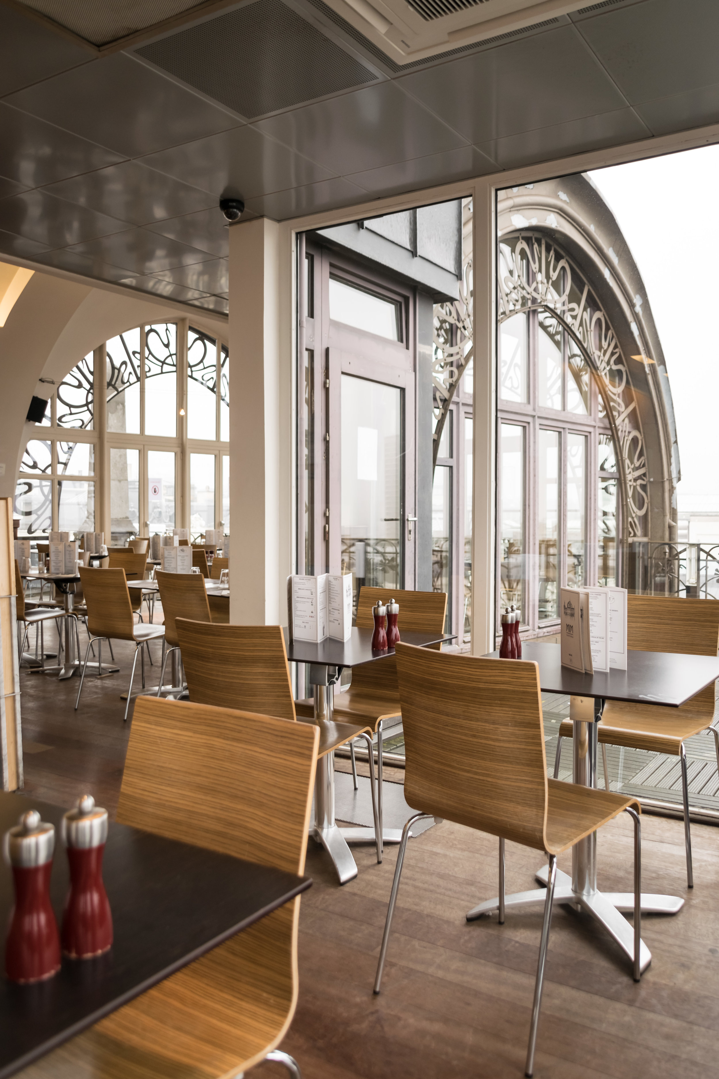 chic MIM cafe with a great view of the city