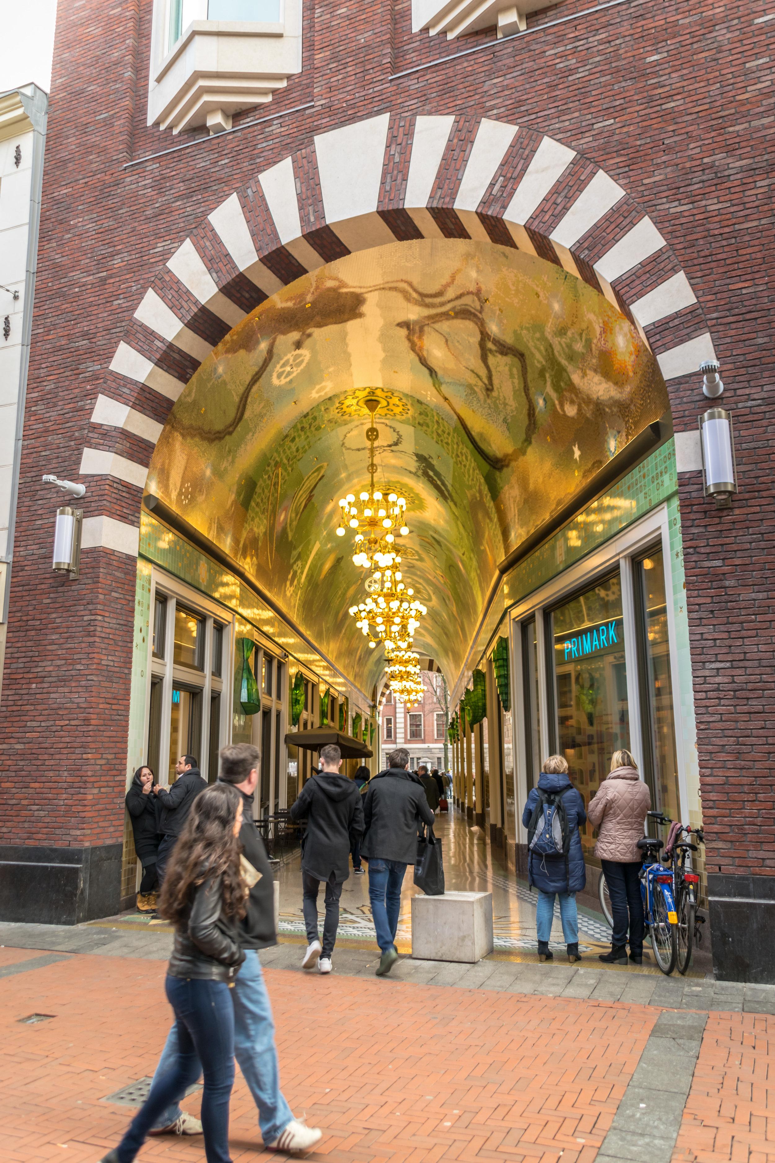 the mosaic filled Beurs passageway