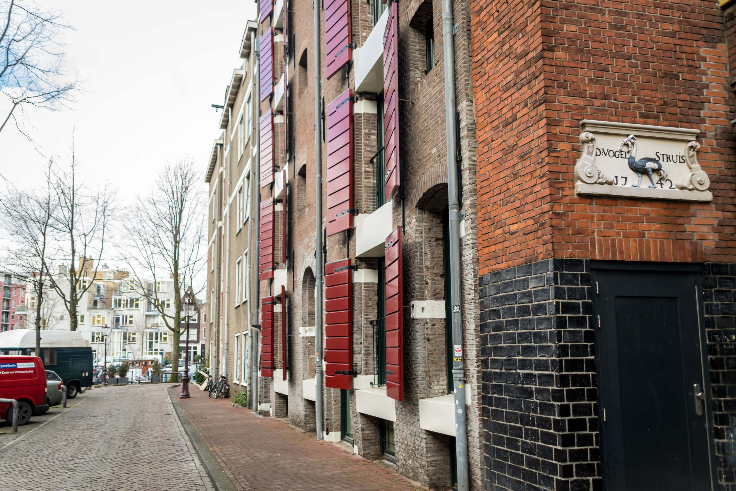 example of traditional house signs in Amsterdam