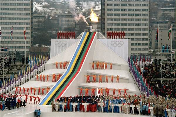 opening ceremony in Koševo stadium on February 8, 1984 (photo credit: nbcnews.com)