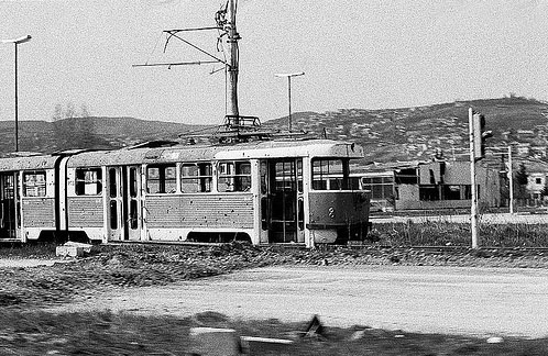 Sarajevo's trams also suffered during the war (photo credit: instituteforgenocide.org)