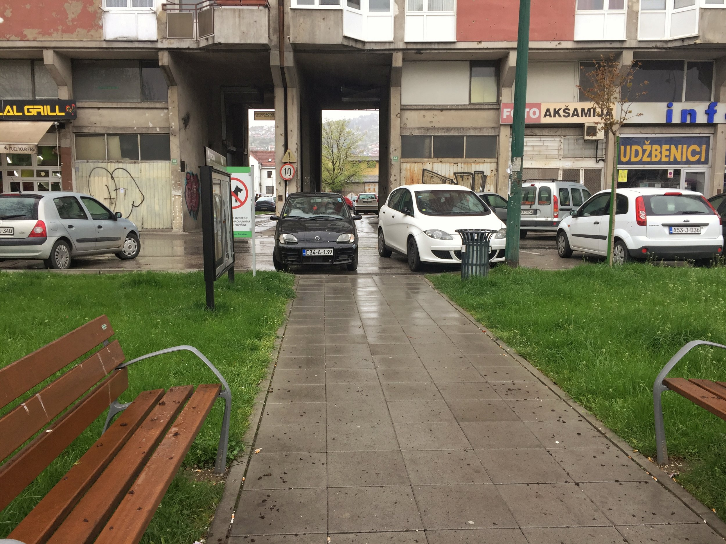 cars can park anywhere, ignoring handicap/pedestrian access points