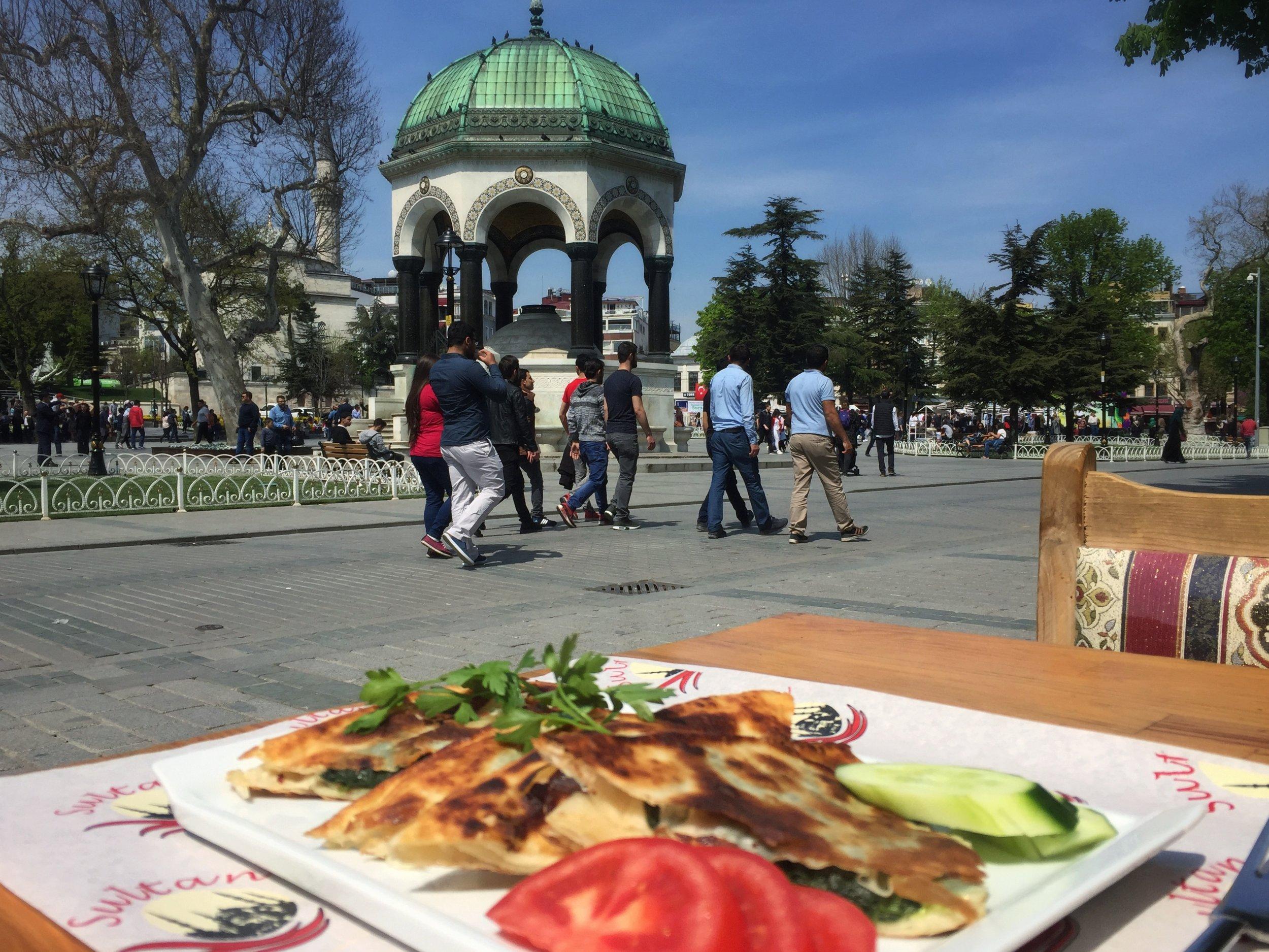 gözleme on the hippodrome in Istanbul