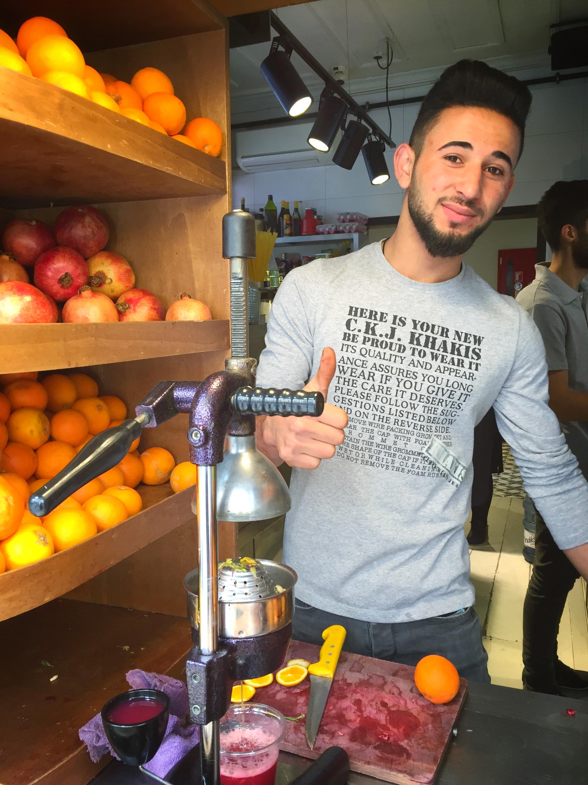 fresh orange & pomegranate juice