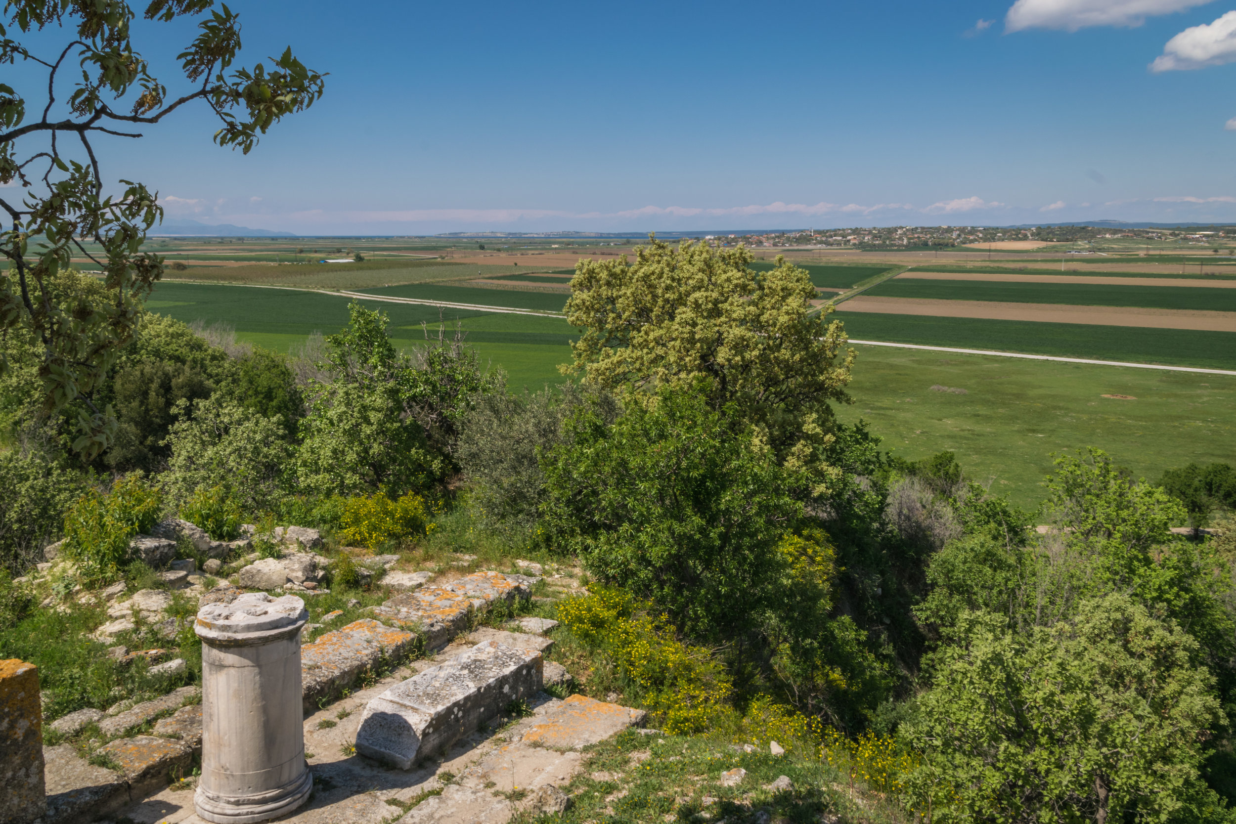 site of temple of Athena; fertile land where water once stood