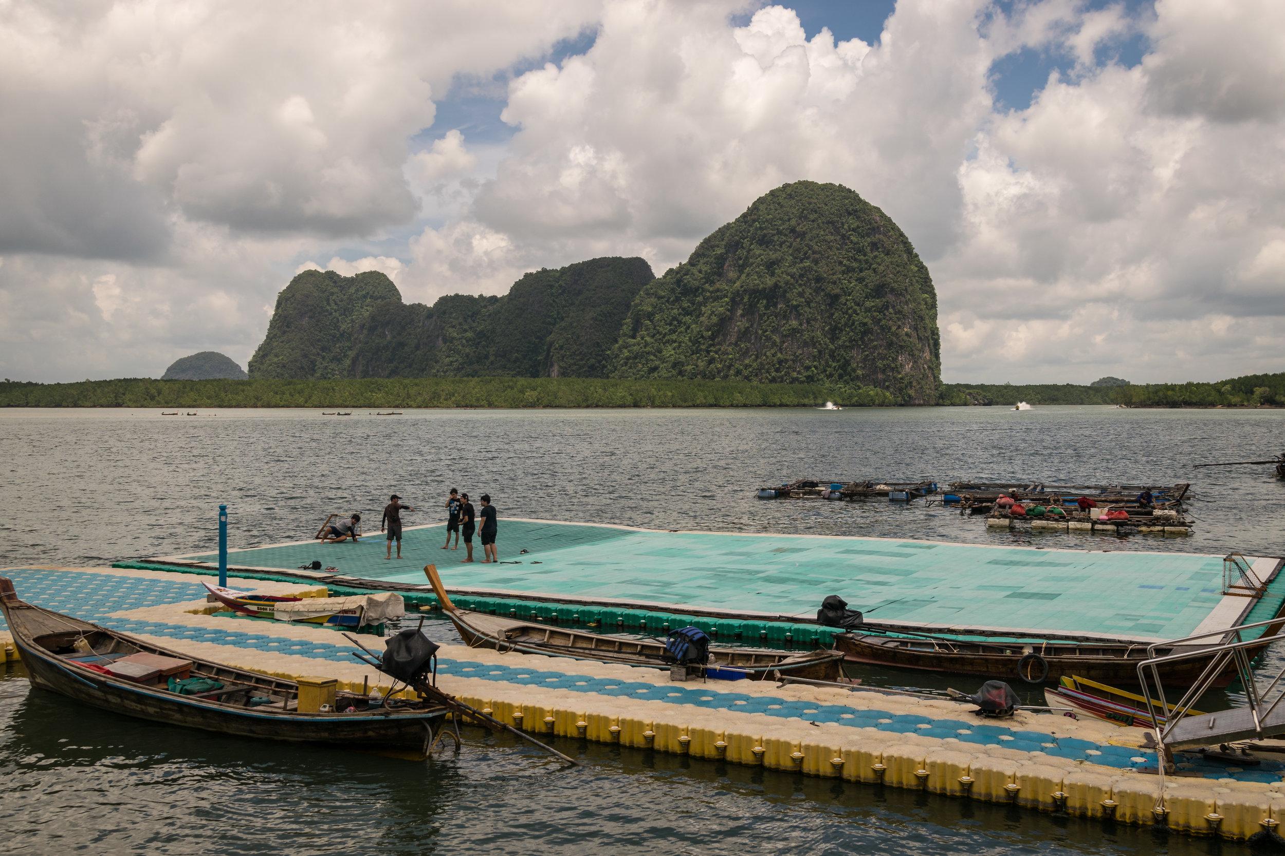 floating soccer field