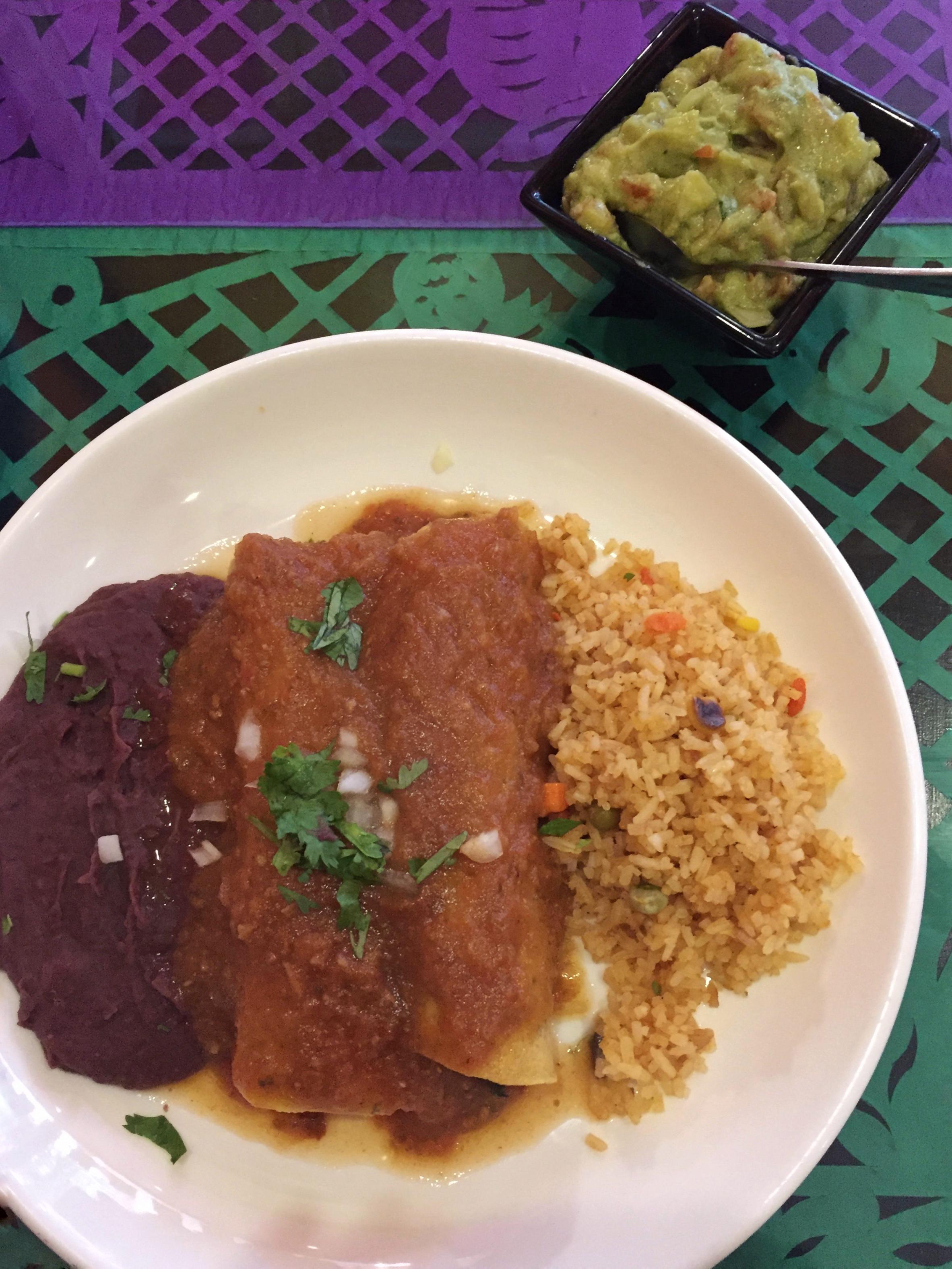 vegan enchiladas, beans, & rice (Tacos & Salsa Mexican, Bangkok)