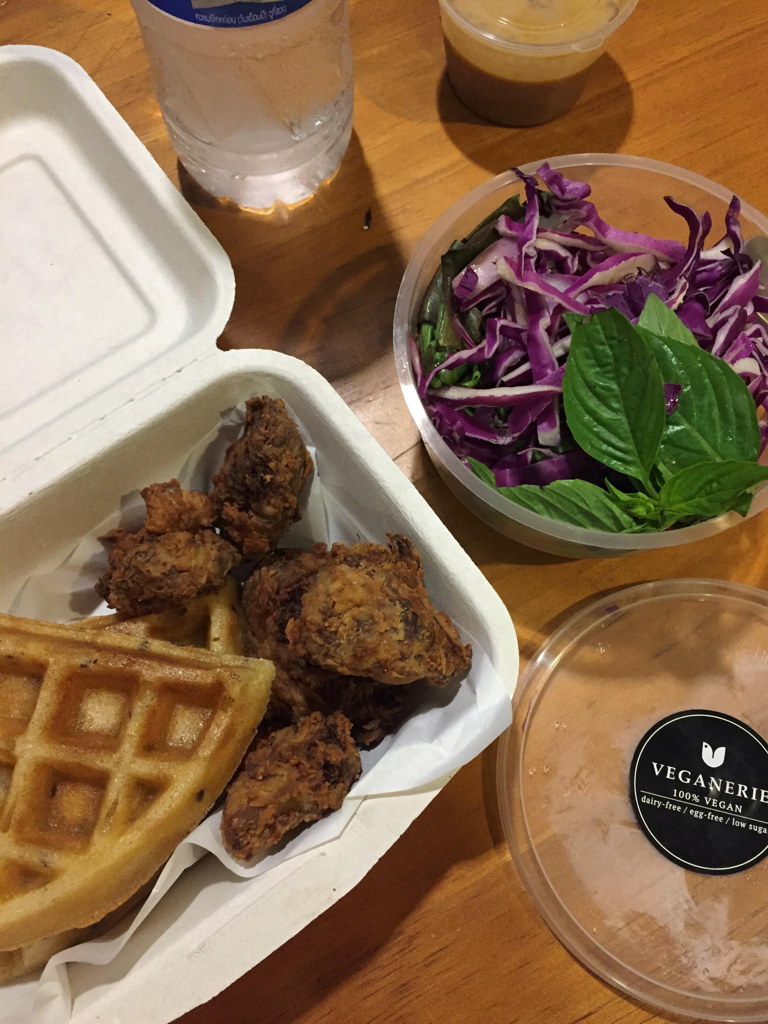 """""""chicken"""" (mushrooms) & waffles"""