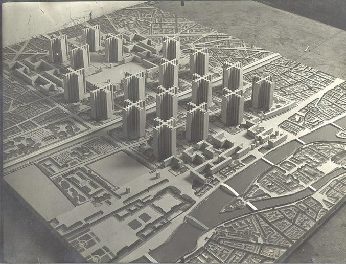 Le Corbusier's unrealized Plan Voisin for the city center of Paris (photo credit: BusinessInsider.com)