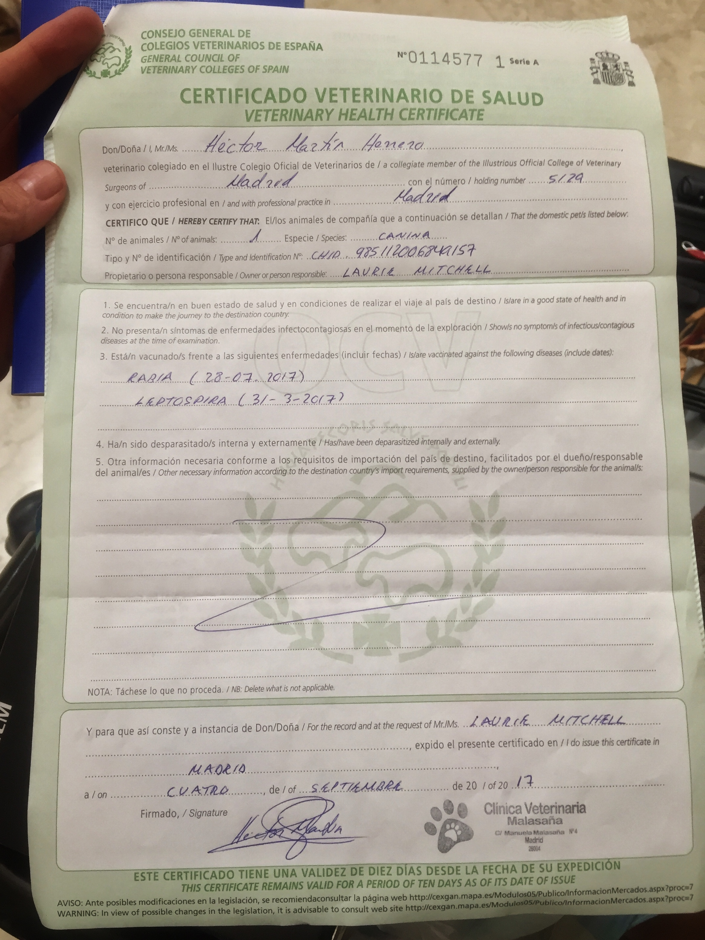 the vet's form for customs