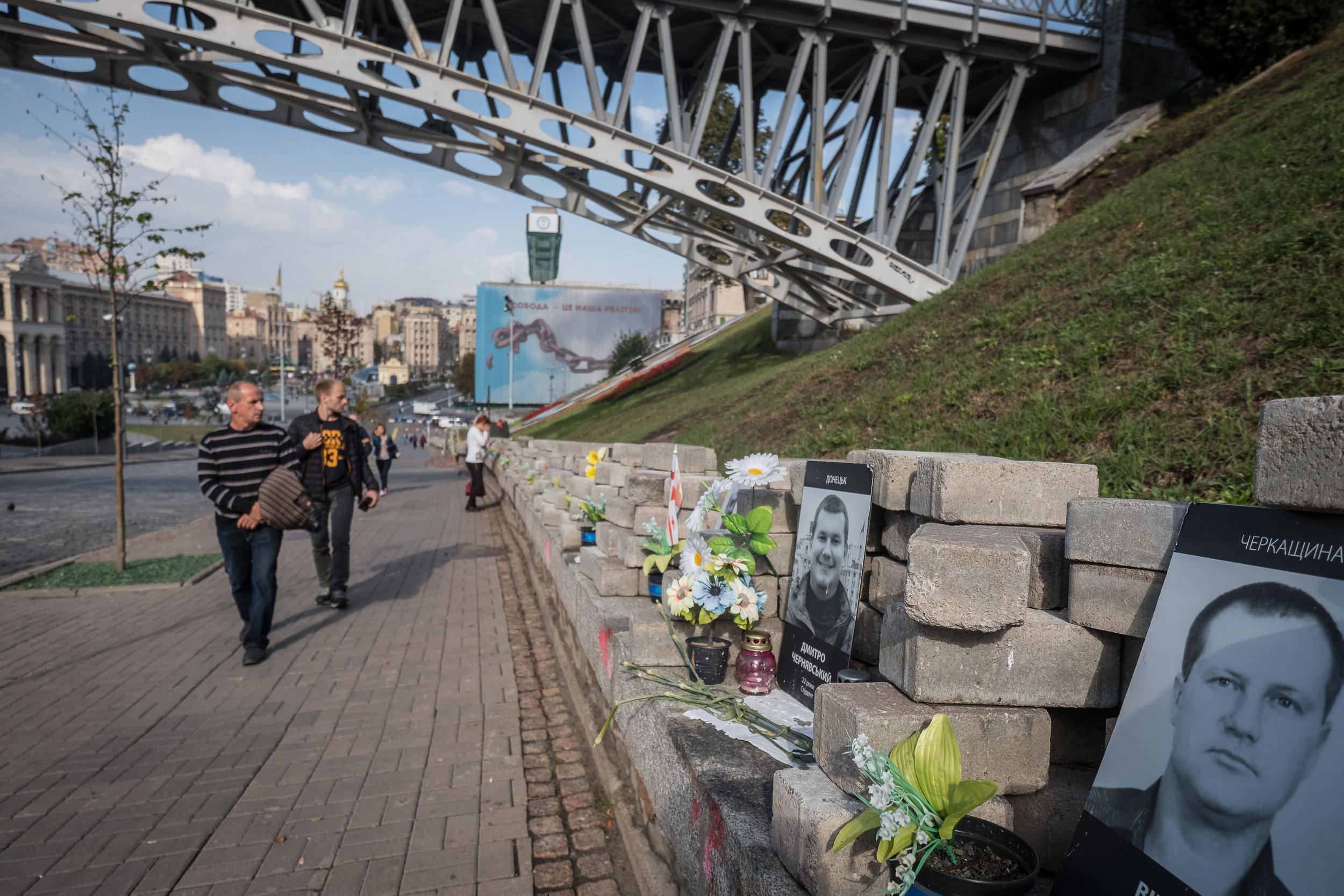 memorials to a few of the 100+ civilian protesters that died during Euromaidan