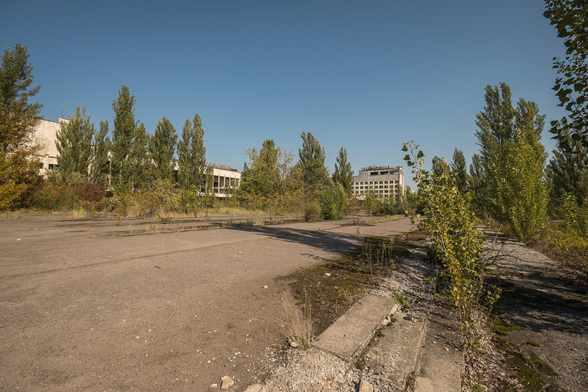 looking towards Hotel Polissya