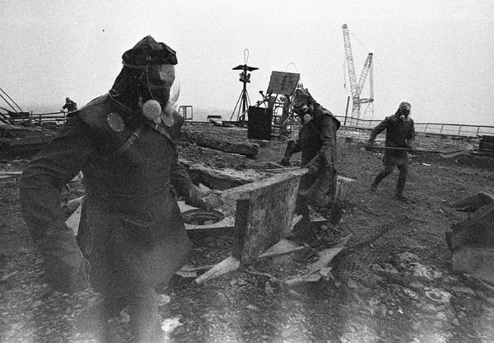 footage of a liquidator getting Chernobyl under control, you can can see the radiation exposure on the bottom edge of the film (photo credit:  chernobylgallery.com )
