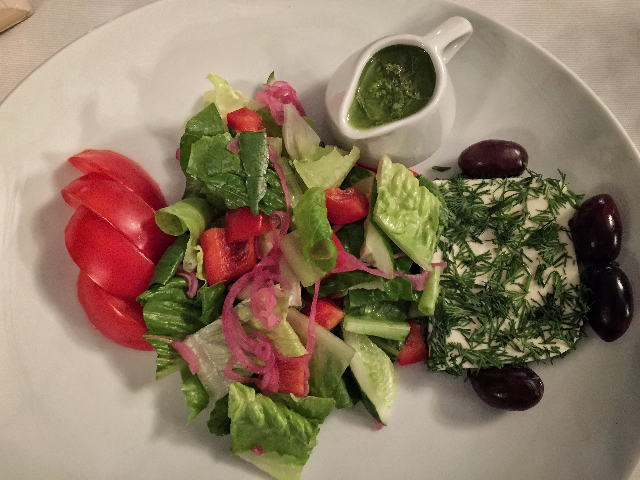 salad with fresh cheese at Spotykach