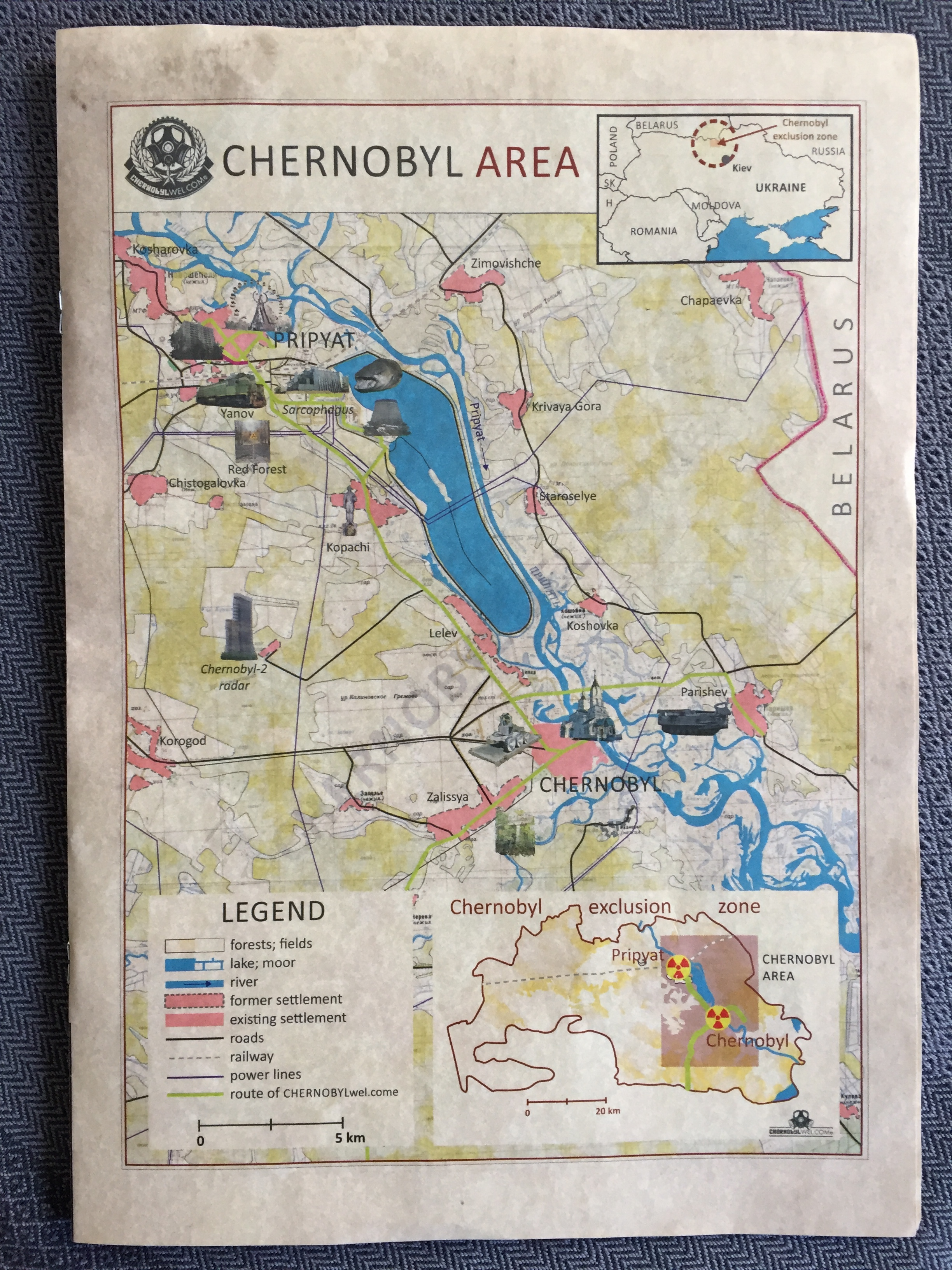 maps from tour company, Chernobyl Welcome