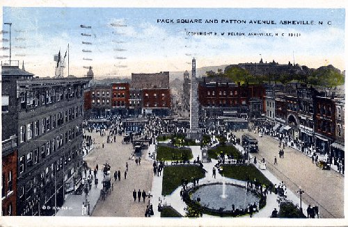 1913 postcard of Pack Square and Patton Avenue (image credit: pwrr.org)